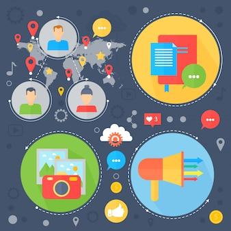 デジタルマーケティングのインフォグラフィック。ソーシャルメディアフラットコンセプトデザイン。