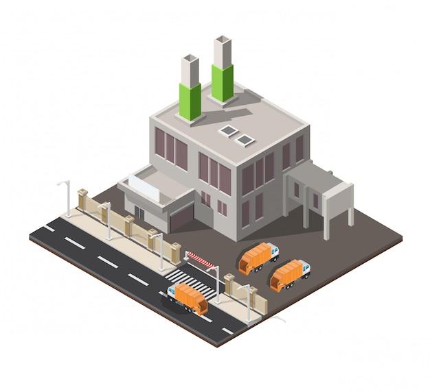 Изометрический низкополигональный завод по переработке отходов изолирован