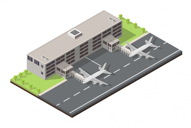 Изометрические низкий поли терминал аэропорта.