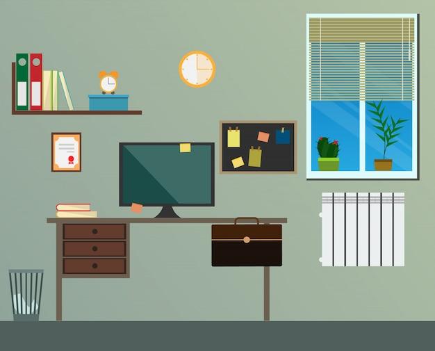 Плоский современный дизайн рабочего места