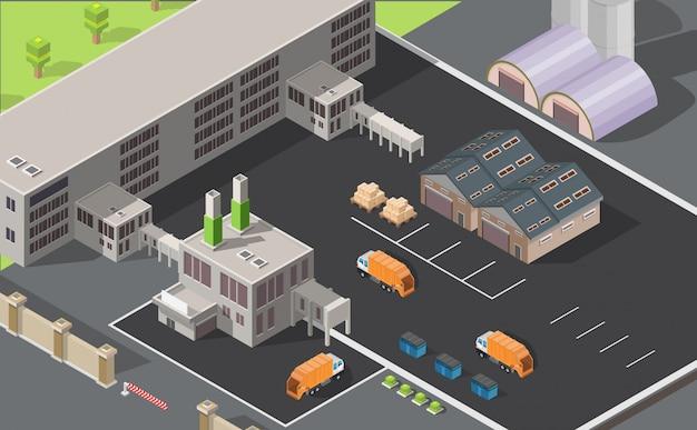 Изометрические низкополигональная мусороперерабатывающий завод инфографики