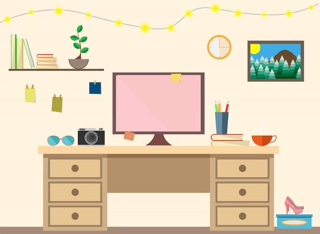 Плоский современный дизайн рабочего места для женской комнаты