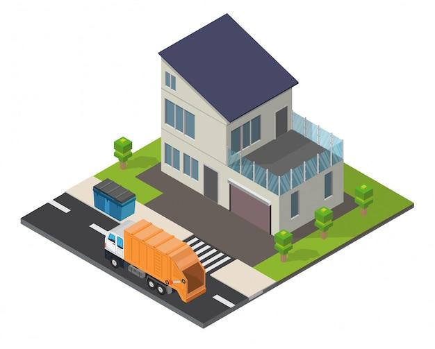 等尺性エコロジーホーム低ポリ背景。
