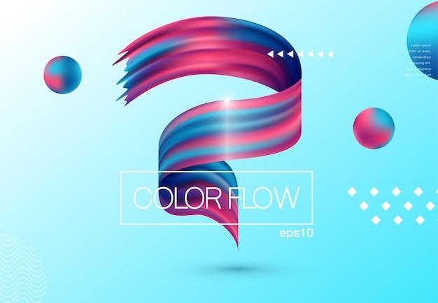 液体色の背景デザイン。流体勾配形状の組成