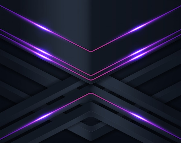 紫色の輝きを持つ黒い紙のカットの背景