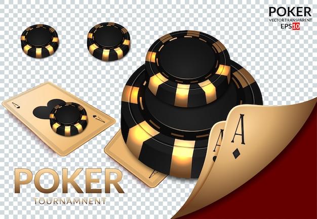 トランプとポーカー用のチップはカジノで飛びます。