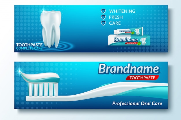 Шаблон баннера зуба и стоматологической услуги