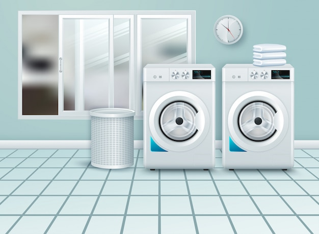 Современная белая стальная стиральная машина крупным планом