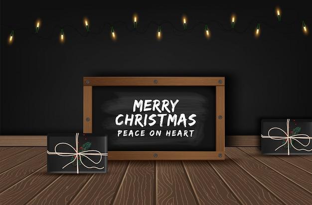 Рождественские старинные мела текстовой метки на доске.