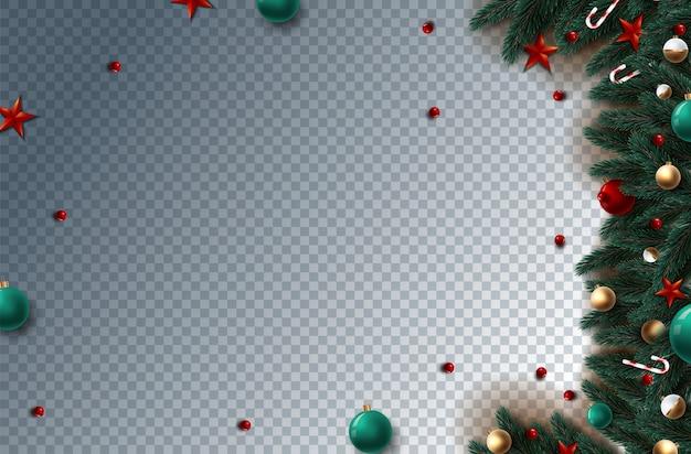 木と松とガーランドの透明上の枝を持つクリスマスの休日の装飾