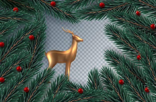 リアルなクリスマスツリーの枝とヒイラギの果実のクリスマスリース