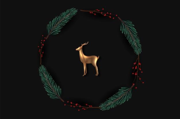 リアルなクリスマスツリーの枝とローズゴールドガラス鹿と背景。