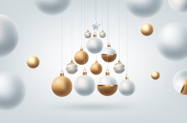 夜のボールと光のクリスマスの背景。