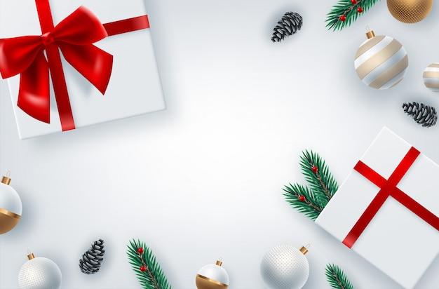 現実的なクリスマスツリーの枝と季節の願いの国境と背景。