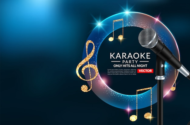 Шаблон плаката приглашения на вечеринку караоке, ночной флаер караоке
