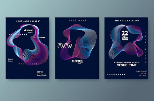 抽象的なグラデーションラインと電子音楽祭のポスター。チラシ、プレゼンテーション、パンフレットのベクトルテンプレート