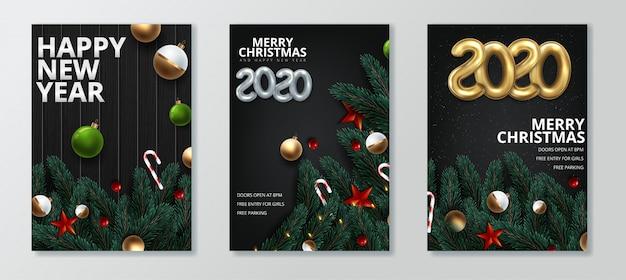 新年あけましておめでとうございます、メリークリスマスのグリーティングカードセット