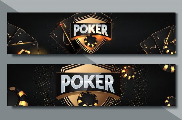 ポーカーカジノバナーセットカードとチップ