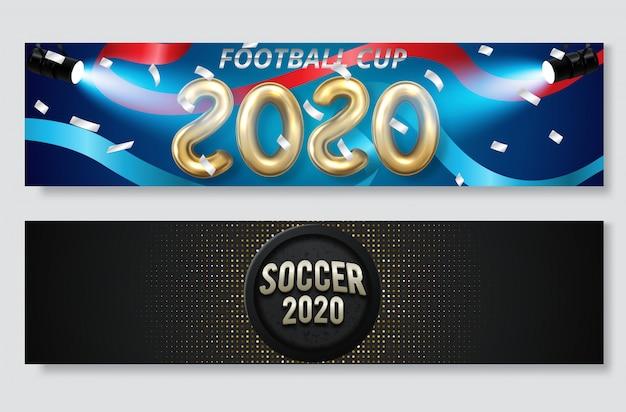 サッカークラブまたはフットボールスポーツバナーセット