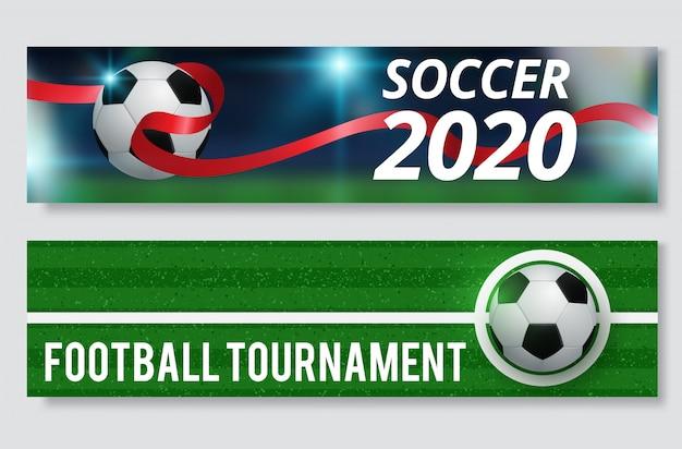 サッカーまたはフットボールスポーツゲームバナーセット