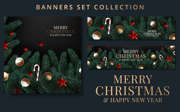 Коллекция рождество и новый год с бордюром или гирляндой из еловых веток
