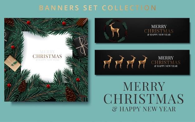 リボンで飾られたモミの枝入りクリスマスバナー