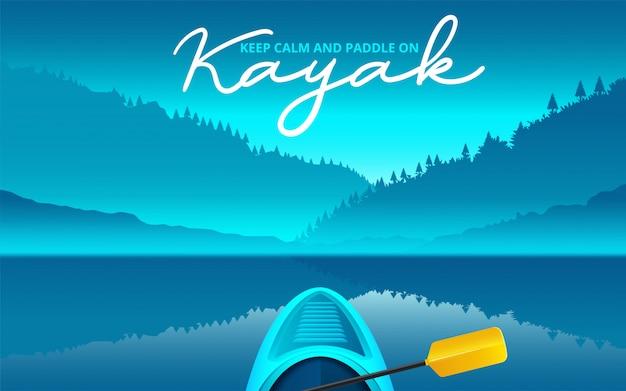 カヤックベクトルイラスト、ウォータースポーツをカヤック