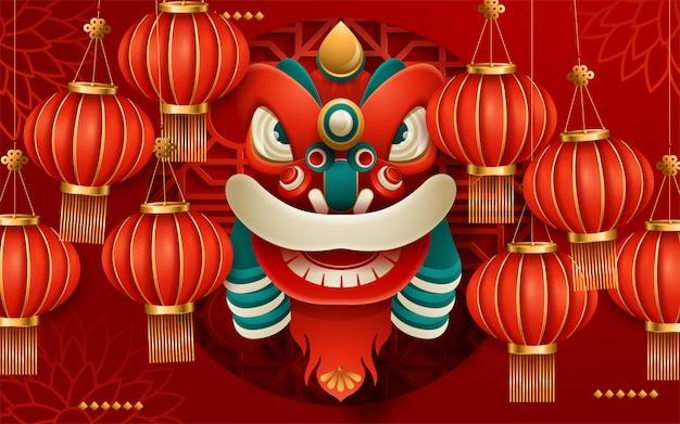 Бумажные художественные фонари украшения для лунного года поздравительных открыток красного цвета. перевод: с новым годом. векторная иллюстрация