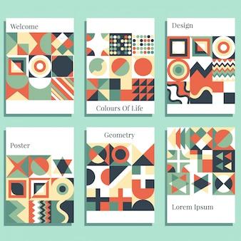 Скандинавский плакат красочный фон декоративные обои с геометрическим полужирный редактируемый простой блок в ярком цвете