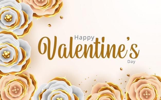 花の背景とバレンタインの日グリーティングカード