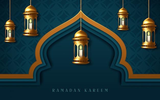 Рамадан карим плакат, арабская каллиграфия с подвесными фонарями рамадан.