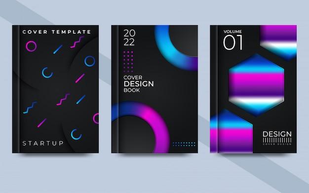 最小限の動的カバーデザインのメッシュグラデーションテクスチャと明るい色の背景のイラスト