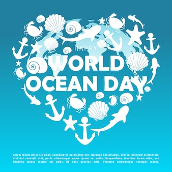 世界の海の日のベクトル図。