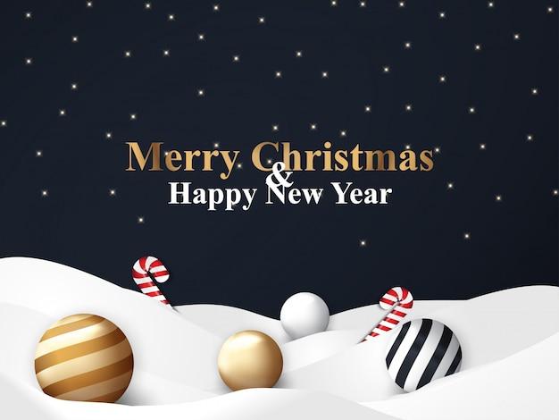 Современный черный фон на рождество с золотым шаром и конфетным орнаментом