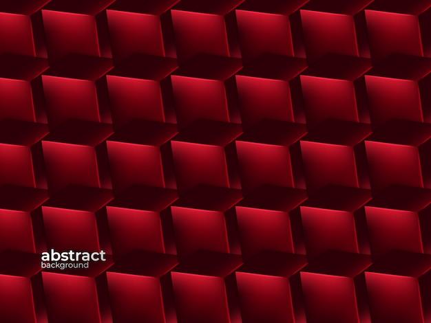 抽象的な現実的な層状紙カットの幾何学的なスタイルで装飾赤背景