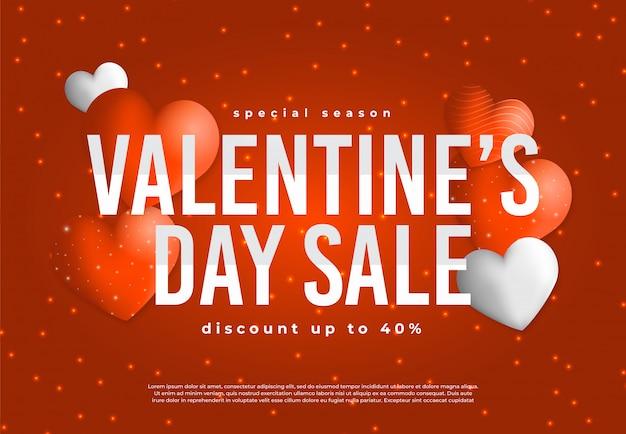 Специальная распродажа в день святого валентина на красном фоне для продвижения в социальных сетях и т. д.