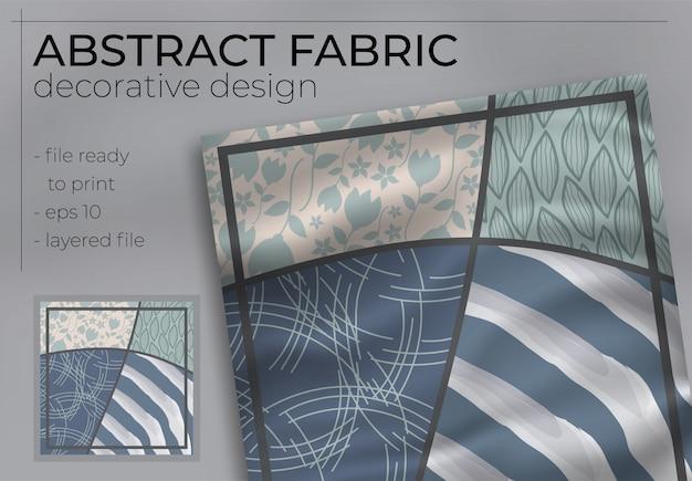 印刷生産のために現実的なモックアップと抽象的なファブリック装飾デザイン。ヒジャーブ、スカーフ、枕など