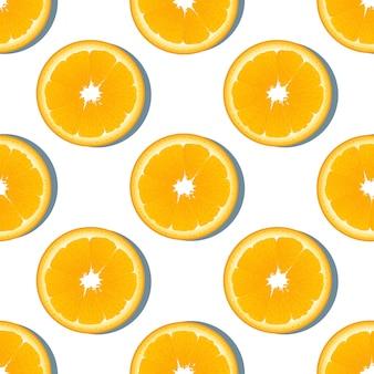 オレンジスライスフルーツのシームレスパターン