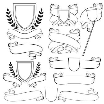 紋章のリボンと紋章。アウトライン紋章