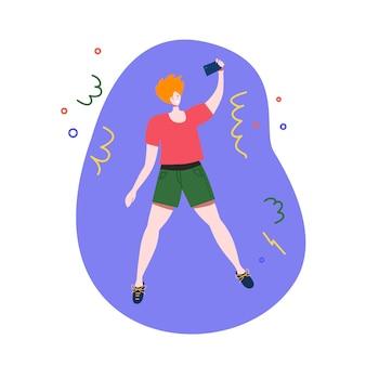 Человек прыгает и делает селфи на смартфоне праздничной иллюстрации