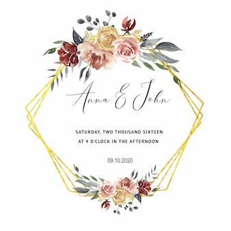 結婚式のカードのためのバーガンディの結婚式の招待状、日付を保存