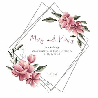 結婚式のカードのためのマグノリア花結婚式招待状、日付と葉を保存