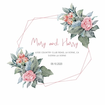 結婚式のカードのピンクのバラの結婚式の招待状、日付と葉を保存