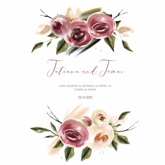 ウェディングカードのためのサンゴのバラの結婚式の招待状、日付と葉を保存
