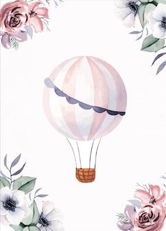 花とかわいい気球カードテンプレート