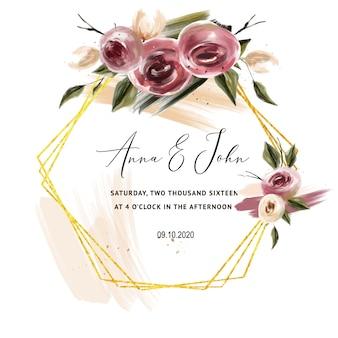 結婚式のカードのためのバーガンディのバラの招待状、日付を保存