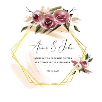 結婚式のカードのためのバーガンディのバラの招待状