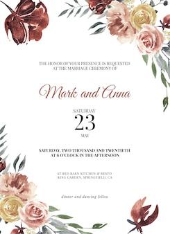 Бургундские шаблоны свадебных открыток, сохранить дату