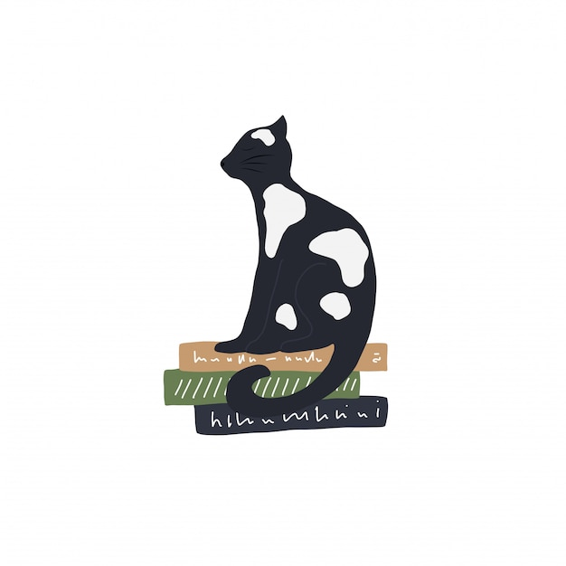Черно-белый векторный кот на книжной иллюстрации
