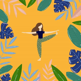 ヨガの女の子と熱帯の葉